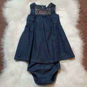 Carter's size 12M jean dress and diaper cover